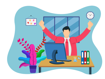 Man Relaxed in work place flat illustration vector vector illustration vector art illustration art flat design office design flat illustration flatdesign design graphicyes flat illustration vector