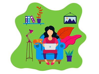 girls sitting on sofa with laptop drawing illustration design illustration art illustrations flat illustration flat  design flat design flatdesign illustrator graphicyes vector illustration minimal flat design