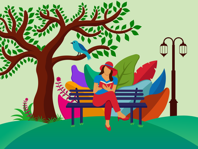 girl reding book in park design illustration sitting relaxation reading read person people park outdoors studying study flat vector