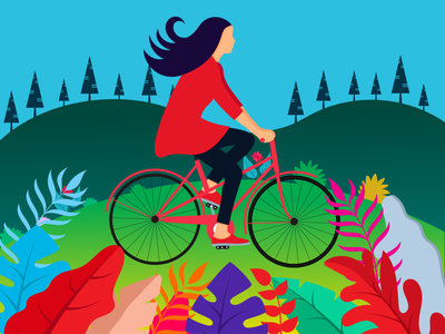 girl ride cycle graphicyes park nature illustration flat  design flat illustration flat design flatdesign bicyclist girl character girl illustration girl travel design illustration vector