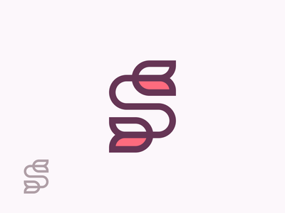 S Flower Logo decoration nature modern simple roses flower tulip letter