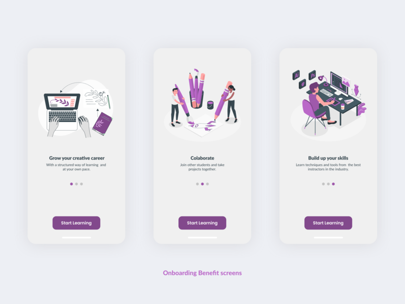 Onboarding Benefit screens for Art & Design Online Classes App. design ui 10ddc mobile app design mobile ui uiuxdesign uidesign uiux