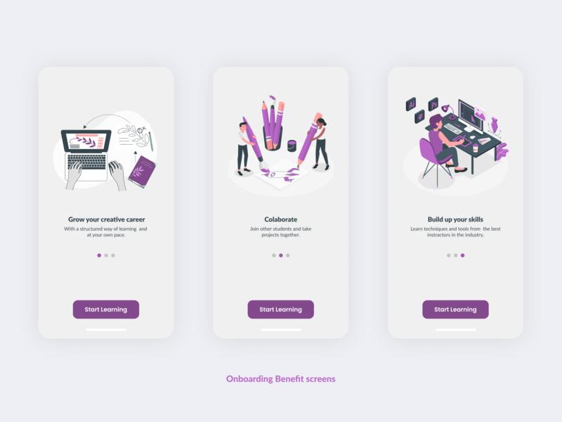 Onboarding Benefit screens for Art & Design Online Classes App. design ui 10ddc mobile app design mobile ui uiuxdesign uidesign uiux
