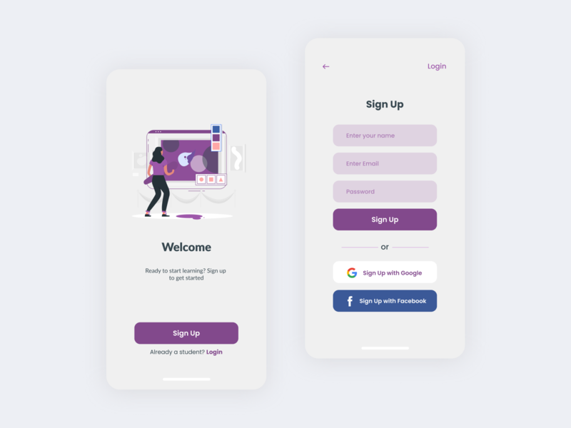 Welcome screen &  Sign Up  for Art & Design Online Classes App. ux mobile app design uiuxdesign uidesig ui 10ddc mobile ui uiux illustration uidesign