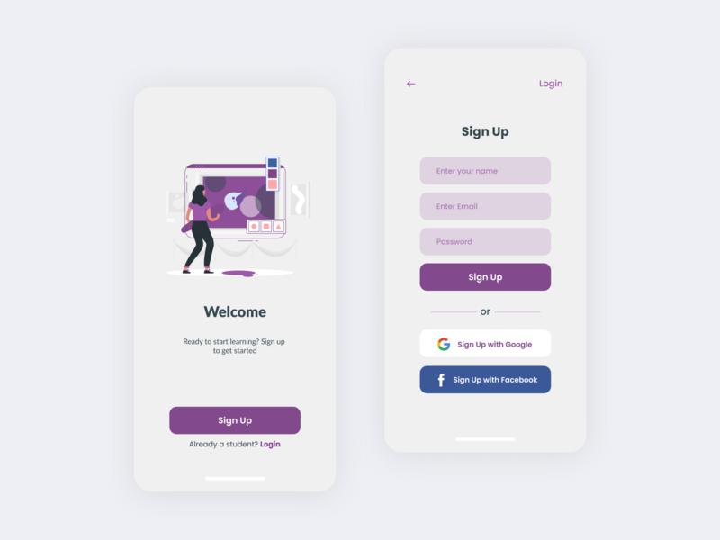 Welcome screen &  Sign Up  for Art & Design Online Classes App. ux mobile app design uiuxdesign uidesig ui 10ddc mobile ui uiux illustration uidesign