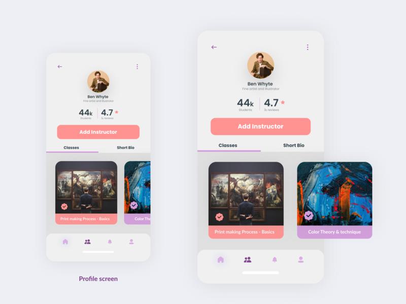 Profile screen for Art & Design Online Classes App uidesig ux uiuxdesign mobile app design 10ddc ui mobile ui uidesign uiux