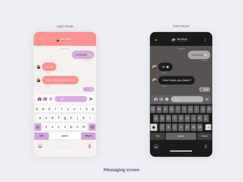 Messaging screen. 🗨️ For Art & Design Online Classes App. ux uidesig design uiuxdesign mobile app design ui 10ddc uiux mobile ui uidesign