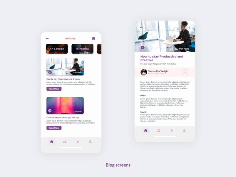 Blog Screen for Art & Design Online Classes App. design uidesig ux uiuxdesign mobile app design 10ddc ui uiux mobile ui uidesign