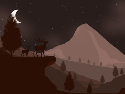 Night 🌙 over mountain ranges deer 🦌 nightsky illustration