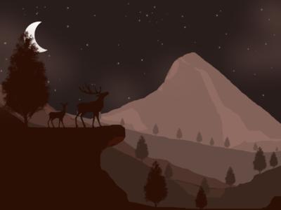 Night 🌙 over mountain ranges deer 🦌 nightsky illustration