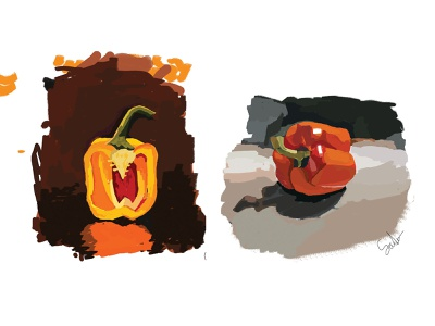 Capsicum? yes! color study basic veetables simple art fruits vegetable vegetable study capsicum