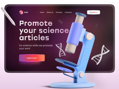 Website for the promotion of scientific articles ui design web 3d animation