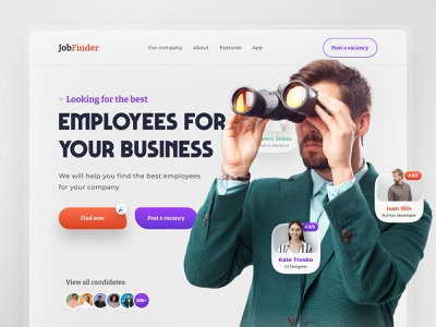 Landing page for job search service and employees website design site web web design landing page landing ui