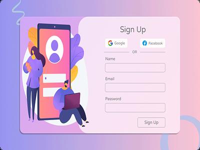 Sign Up illustration ui ux design graphic design
