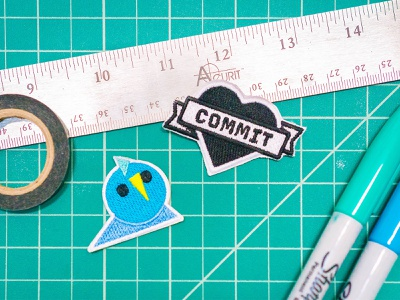 Abstract Patches heart commit party parrot brand patch