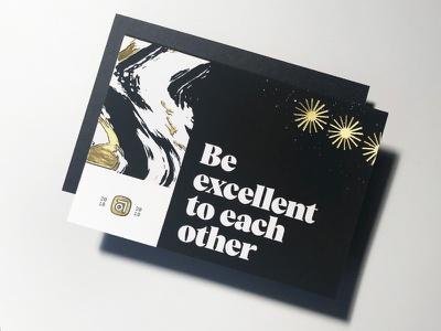 Abstract holiday card foil gold stationary card holiday design brand