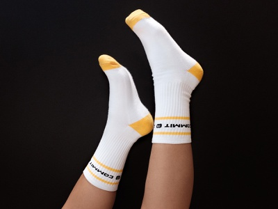 Commit, don't quit gift goods swag accessories fashion logo branding design branding sports athletic socks