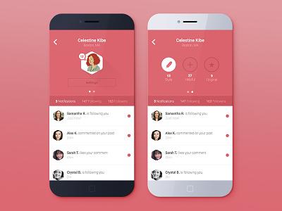 Profile Screen profile ui ux flat modern clean social iphone ios apple mobile design