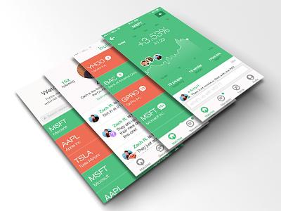 Bullseye - Social Stock App ui ux design modern flat ios apple mobile app bullseye the cream creative