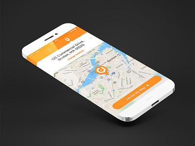 On My Way App mobile ui ux iphone ios modern flat app design the cream creative