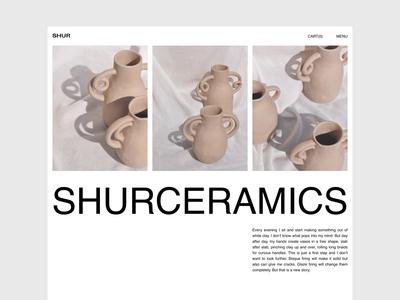Website concept for a brand of handmade ceramics