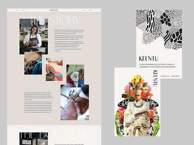 KEENTU - E-commerce Web Design pattern shop flyer illustration flyer new york boutique jewellery african handmade jewelry fashion shop ecommerce minimal website ui webdesign web uidesign