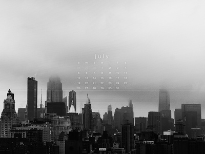 July 2020 skyline black and white new york city nyc 4k photograph download calendar wallpaper