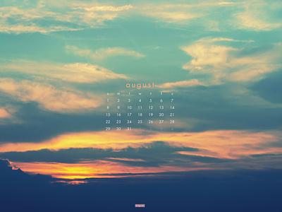 August 2021 4k sunset clouds sky photograph download calendar wallpaper