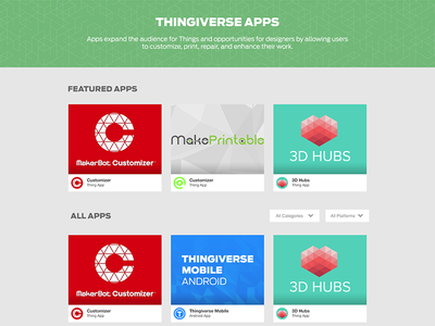 Thingiverse Apps - Browse ui design ux design platform work makerbot thingiverse browse apps app