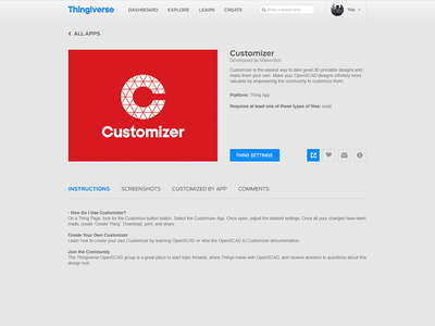 Thingiverse Apps - App Info Page detail page info page app apps browse thingiverse makerbot work platform ux design ui design