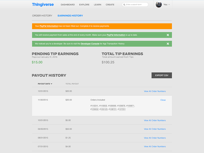 Thingiverse Payments - Earning History by Jason Krieger on