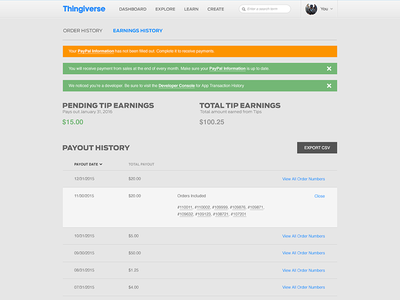 Thingiverse Payments - Earning History thingiverse makerbot work platform ux design ui design ecommerce payments tip history tips earning history earning