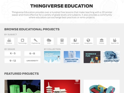 Thingiverse Education ui design ux design work portal landing page education thingiverse makerbot