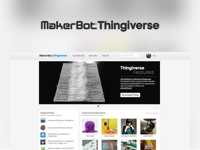 Case Study: MakerBot Thingiverse 3d printing web design ux design ui design makerbot thingiverse case study