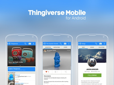 Case Study: Thingiverse Mobile for Android ux design ui design mobile design android thingiverse case study
