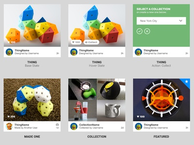 Thingiverse Card UI Refresh style guide content card ux design ui design card makerbot thingiverse