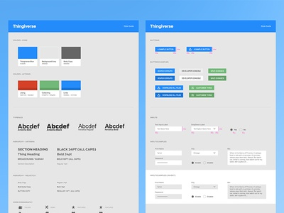 Thingiverse Style Guide concept ui design thingiverse makerbot style guide