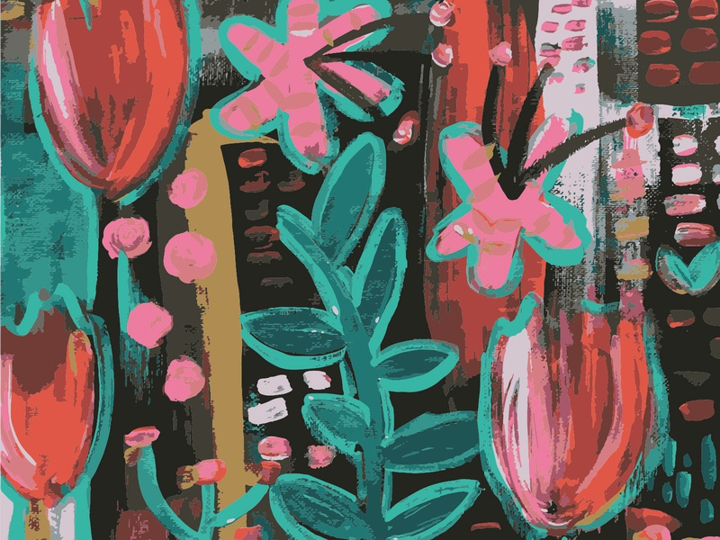 Dark Floral Pattern pattern art acrylic patterndesign illustration pattern art handmade painting patterns patterndesigner