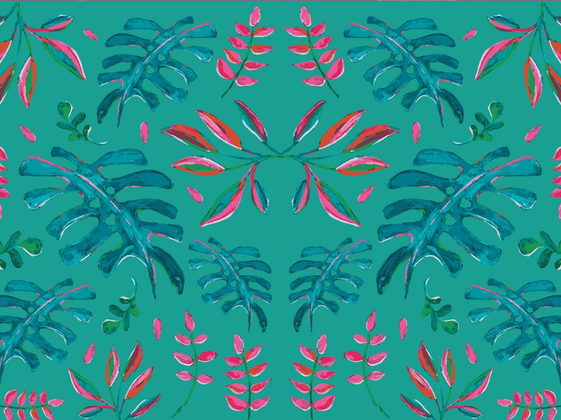 Turquoise Tropical Pattern painting illustration patterndesign pattern art pattern art acrylic patterns handmade patterndesigner