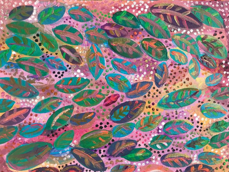 Colorful leaves Pattern design acrylic pattern art pattern patterndesigner handmade branding patterns patterndesign painting
