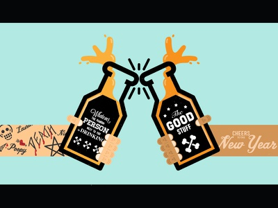 Cheers to the New Year cheers new year 2014 thick lines illustration flat shapes toast holidays vector