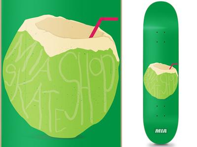 MIA Skateshop Coconut Deck mia miami skateshop skateboard deck coconut florida skate tropical