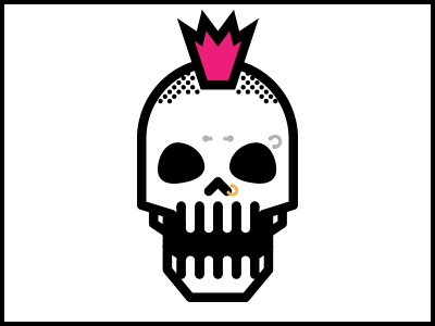 Skulls Music Series punk pink mohawk skull piercing jewelry