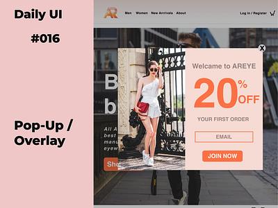 Pop-Up / Overlay #dailyui_016 ui 016 dailylogochallenge dailyui daily 100 challenge daily