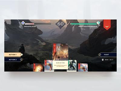 Battle Casters - In game magic game battlefield in game video game ux ui mobile design game design figma design card game