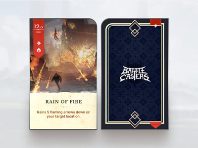 Battle Casters - Card Design game magic vector video game design player card figma card game game design card design