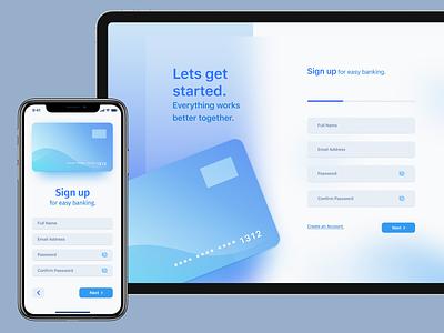 Sign Up Form finance money card design mobile design ui design madewithadobexd