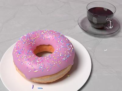 Snack Time furniture kitchenware design hdri realism render glass 3d food 3dmodeling coffee donut b3d blender3d