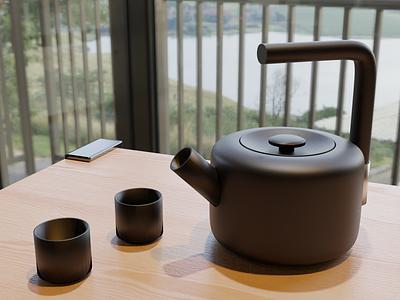 Tea Time kitchenware product realism material metal render 3d hdri furniture food 3drendering blender3d b3d design