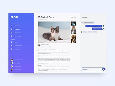 Flock - Featured Article socialmedia chat webapp branding ui design figma